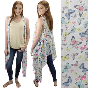 Hippy Western Ladies Cover up Tassel Vest Blue Pink Butterfly or Blue Flowers