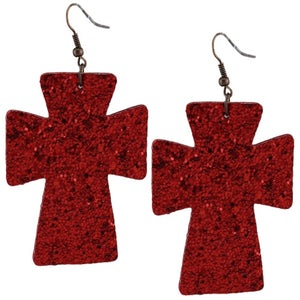 "3"" Leatherette Lightweight Glitter Bing Cross Earrings Black Red Silver Copper or Blue"