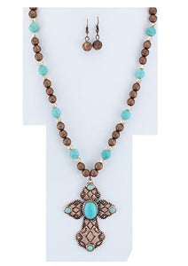 "Emmas 32"" Turquoise Blue Beads Copper Bronze Tone Cross Necklace Earrings Set"