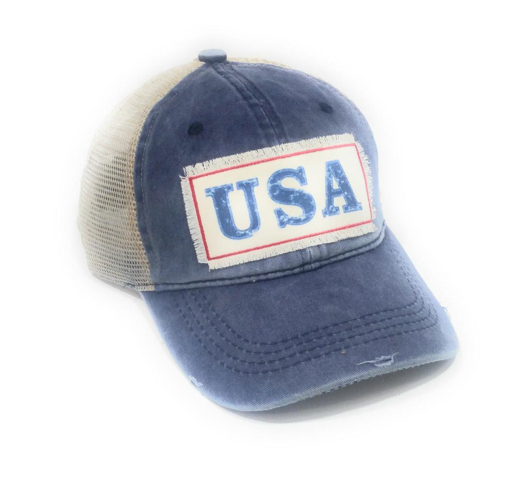 USA Ponytail Cap Memorial Day July 4th Vented Baseball Bun Blue Denim Vented Hat