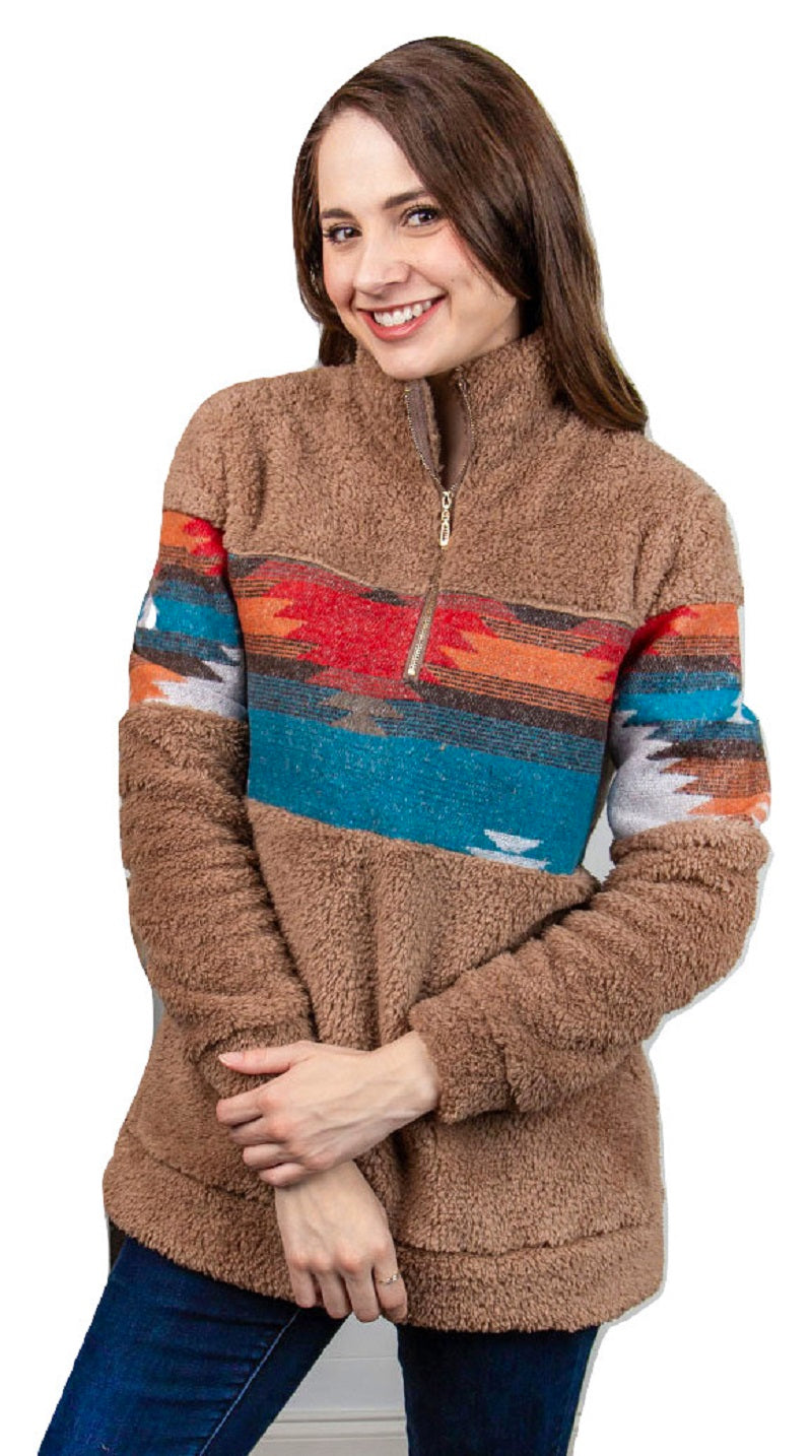 Southwest Aztec Sherpa Shirt Pullover Lightweight Wubby Jacket Women Clothing Tan Brown