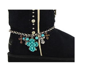 Western Charms Chain Cowgirl Boot Anklet Jewelry Patina Horse or Turquoise Cross