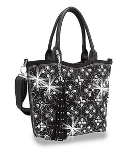 Rhinestone Bling Floral Shoulder Bag Handbag Shoppers Tote Purse Messenger Bag Black