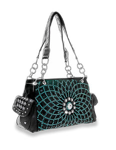 Concealed Carry Western Rhinestone Bling Shoulder Bag Purse Black Turquoise Blue