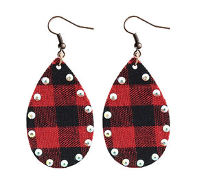 Emma Red Black Plaid Earrings Holiday Rhinestone Bling Teardrop Womens Jewelry