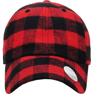 Buffalo Plaid Cap Womens Distressed Adjustable Hat Red Black