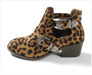 Leopard Cheetah Womens Chunky Heel Ankle Boots Bootie Shoes