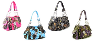 Concealed Weapon Gun Western Camo Rhinestone Flower Shoulder Bag Purse Blue Pink Purple or Green