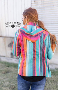 Crazy Train Serape Aztec Western Lightweight Cargo Jacket Hoodie Shirt Coat