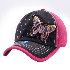 Pit Bull Adjustable Bling Distressed Vintage Western Baseball Cap Hat Butterfly Black Pink
