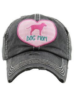 """Dog Mom"" Baseball Cap Womens Ladies Puppy Dog Heart Adjustable Hat"