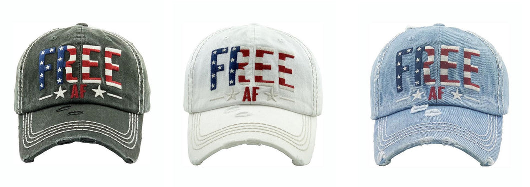 Free AF Baseball Cap America Flag USA Patriotic July 4th Womens Mens Hat