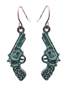 Gun Pistol Patina Blue Earrings Ladies Girls Western Jewelry