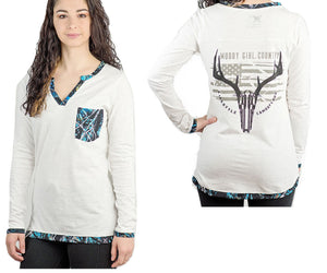 Muddy Girl Country Serenity Blue Camo Western Long Sleeve Top Henley Shirt Gun Deer Antlers