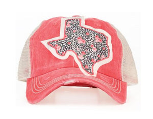 Southern Junkie Leopard Cheetah Texas Rose Baseball Vented Hat Cap Pink
