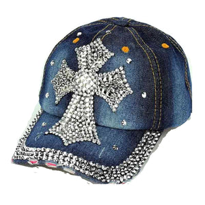 Womens Bling Baseball Cap Rhinestone Cross Black / Denim Leopard Cheetah Hat