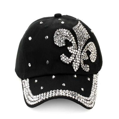 Fleur De Lis Cap Adjustable Extra Bling Rhinestone Hat Black