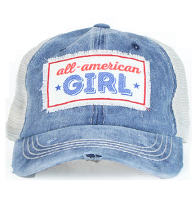 Southern Junkie All American Girl Star Ladies Teen Jr. Baseball Hat Cap Blue