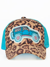 Southern Junkie Turquoise Blue Leopard Cheetah Cap Hat Lets Rodeo, Jeep or Mama Bear