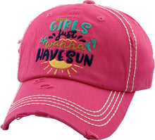 Girls Just Wanna Have Sun Hat Beach Lake Adjustable Vintage Distressed Womens Cap