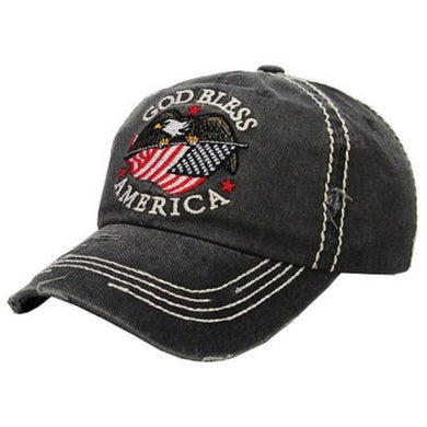 God Bless America Flag USA Patriotic July 4th Eagle Baseball Hat Cap Mens or Womens