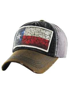 KB Lone Star Texas Flag Western Distressed Baseball Cap Dad Hat Grey