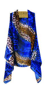 Accents Ladies Vest Cheetah Leopard Animal Print Black Pink blue or Brown blue
