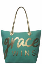 NGil Spiritual Large Shopping Bag Craft Tote Grace Purse Blue Gold Tone
