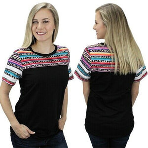 Sunshine&Rodeos Leopard Cheetah Ladies Serape Aztec Western Short Sleeve Shirt Top Black