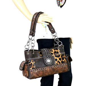 Montana West Concealed Carry Leopard Cheetah Animal Print Shoulder Bag Purse Black or Brown