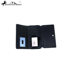 Montana West Western Horse Collection Trifold Secretary Womens Wallet Blue
