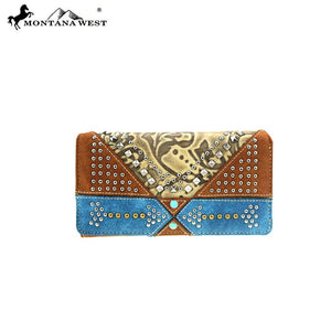 Montana West Arrow Turquoise Aztec Trifold Zipper Womens Western Wallet