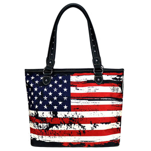 Montana West USA Flag Patriotic Craft Beach Travel Shopping Tote Purse Red Blue