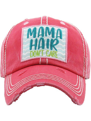 Mama Hair Dont Care Beach Waves Cap Ladies Distressed Baseball Hat