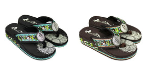 Montana West Aztec Cactus Flip Flops Womens Longhorn Steer Skull Concho Sandals Brown or Black