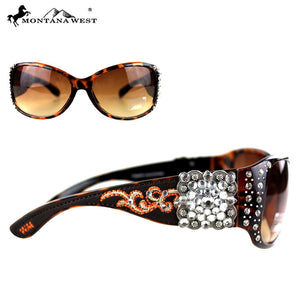 Montana West Hippy Aztec Rhinestone Concho Bling Sunglasses