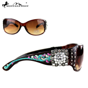 Montana West Hippy Aztec Rhinestone Concho Bling Sunglasses Brown Pink Turquoise