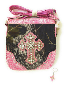 Mossy Oak Camo Rhinestone Cross Messenger Bag Hipster Western Purse Pink+ Keyring