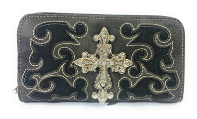 Rhinestone Scroll Cross Western Womens Zipper Wallet Black Gray