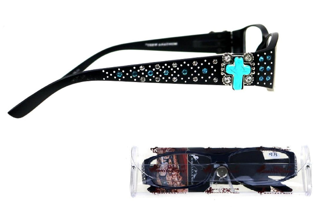 Montana West Turquoise Cross Reading Eye Glasses Womens Cheaters Readers Black