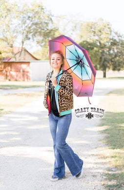 Crazy Train Aztec Serape Rain Umbrella Womens Ladies Girls Turquoise Orange