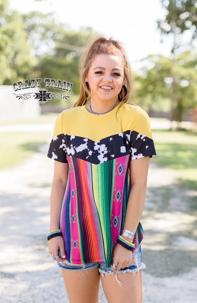 Crazy Train Aztec Serape Shirt Womens Cow Print Short Sleeve Cowgirl Rodeo Tee