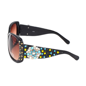 XLoop Beaded Bling Rhinestone Western Ladies Sunglasses Turquoise AB Gold
