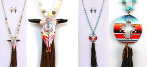 "33"" Aztec Longhorn Steer R Serape Cross Western Rhinestone Necklace Earring Set"