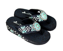 Montana West Embroidered Aztec Turquoise Concho Western Flip Flops Brown or Black