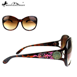 Montana West Swirl Daisy Patina Concho Womens Western Sunglasses + Case