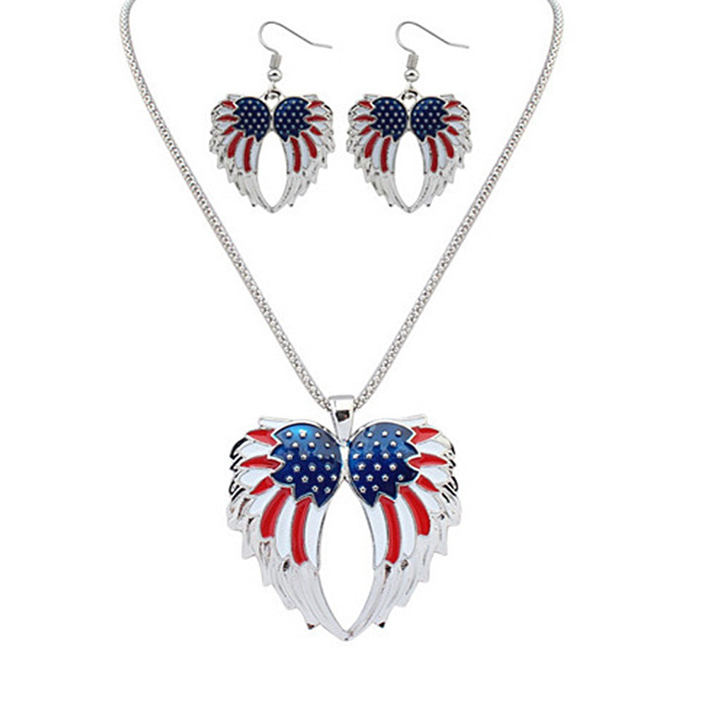USA American Flag Angel Wings July 4 Necklace Earrings Set Red White Blue