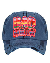 Adjustable Bad Hair Day Distressed Baseball Hat Cap Aztec Serape Black or Blue