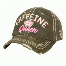 Caffeine Queen Crown Coffee Coke Tea Distressed Baseball Hat Cap Black Olive Turquoise