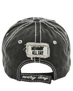 """Mommin' All Day Every Day"" Mom Mother Flower Distressed Hat Cap Black"